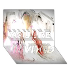 Abstract Angel In White You Are Invited 3d Greeting Card (7x5)