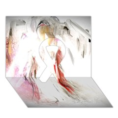 Abstract Angel in White Ribbon 3D Greeting Card (7x5)