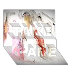 Abstract Angel in White TAKE CARE 3D Greeting Card (7x5)