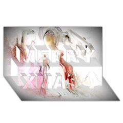 Abstract Angel in White Merry Xmas 3D Greeting Card (8x4)