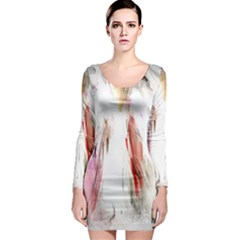 Abstract Angel in White Long Sleeve Bodycon Dresses