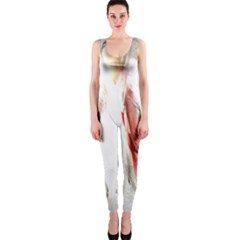 Abstract Angel in White OnePiece Catsuits