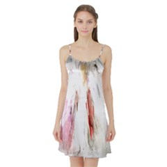 Abstract Angel in White Satin Night Slip