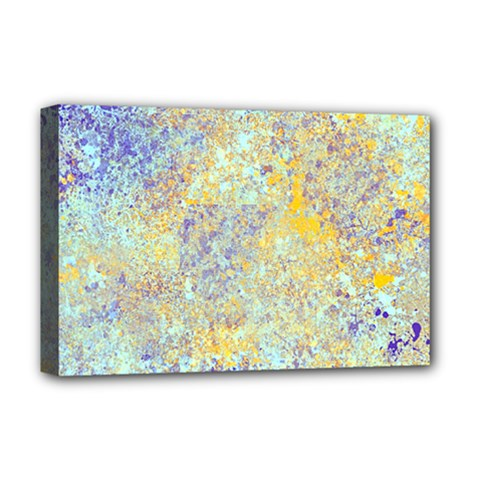 Abstract Earth Tones With Blue  Deluxe Canvas 18  X 12
