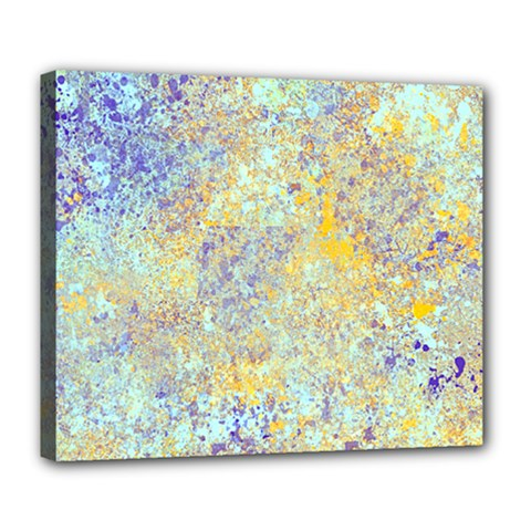 Abstract Earth Tones With Blue  Deluxe Canvas 24  x 20