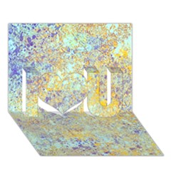 Abstract Earth Tones With Blue  I Love You 3D Greeting Card (7x5)