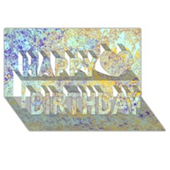 Abstract Earth Tones With Blue  Happy Birthday 3D Greeting Card (8x4)