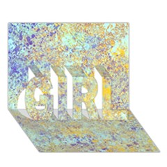 Abstract Earth Tones With Blue  Girl 3d Greeting Card (7x5)