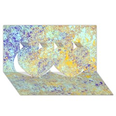 Abstract Earth Tones With Blue  Twin Hearts 3D Greeting Card (8x4)