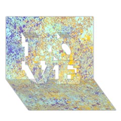 Abstract Earth Tones With Blue  LOVE 3D Greeting Card (7x5)