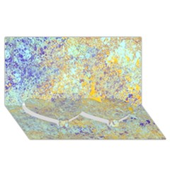 Abstract Earth Tones With Blue  Twin Heart Bottom 3D Greeting Card (8x4)