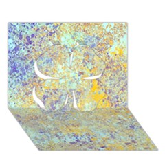 Abstract Earth Tones With Blue  Clover 3d Greeting Card (7x5)