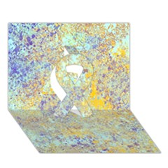 Abstract Earth Tones With Blue  Ribbon 3D Greeting Card (7x5)