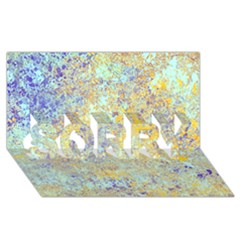 Abstract Earth Tones With Blue  SORRY 3D Greeting Card (8x4)