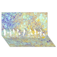 Abstract Earth Tones With Blue  ENGAGED 3D Greeting Card (8x4)