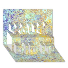 Abstract Earth Tones With Blue  You Did It 3d Greeting Card (7x5)