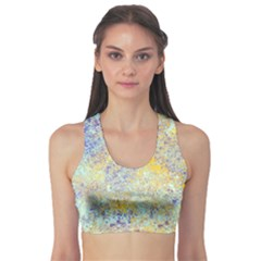 Abstract Earth Tones With Blue  Sports Bra