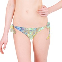 Abstract Earth Tones With Blue  Bikini Bottoms