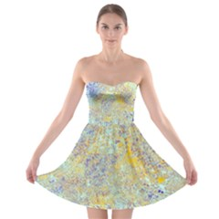 Abstract Earth Tones With Blue  Strapless Bra Top Dress