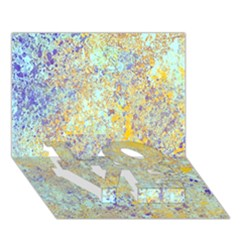 Abstract Earth Tones With Blue  LOVE Bottom 3D Greeting Card (7x5)