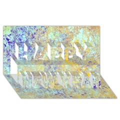 Abstract Earth Tones With Blue  Happy New Year 3d Greeting Card (8x4)