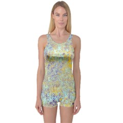 Abstract Earth Tones With Blue  Women s Boyleg One Piece Swimsuits
