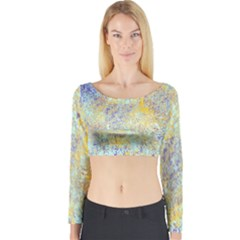 Abstract Earth Tones With Blue  Long Sleeve Crop Top