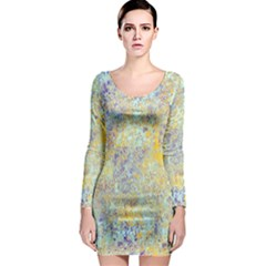 Abstract Earth Tones With Blue  Long Sleeve Bodycon Dresses