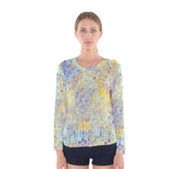 Abstract Earth Tones With Blue  Women s Long Sleeve T Shirts