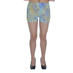 Abstract Earth Tones With Blue  Skinny Shorts