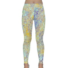 Abstract Earth Tones With Blue  Yoga Leggings