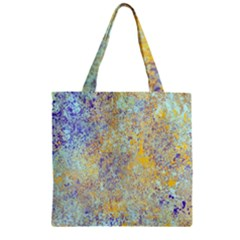 Abstract Earth Tones With Blue  Zipper Grocery Tote Bags