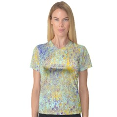 Abstract Earth Tones With Blue  Women s V-Neck Sport Mesh Tee