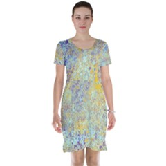 Abstract Earth Tones With Blue  Short Sleeve Nightdresses