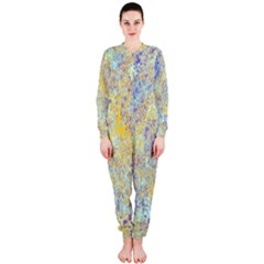 Abstract Earth Tones With Blue  Onepiece Jumpsuit (ladies)