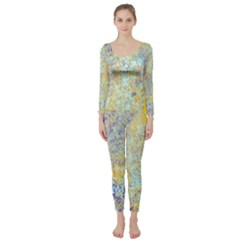 Abstract Earth Tones With Blue  Long Sleeve Catsuit
