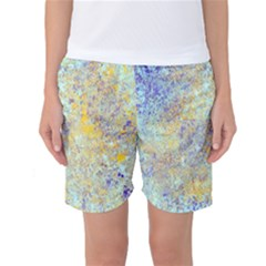 Abstract Earth Tones With Blue  Women s Basketball Shorts