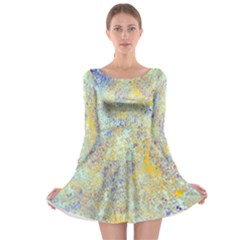Abstract Earth Tones With Blue  Long Sleeve Skater Dress