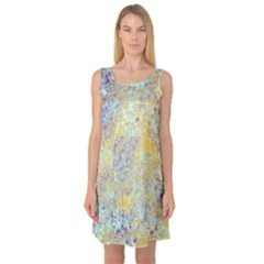 Abstract Earth Tones With Blue  Sleeveless Satin Nightdresses