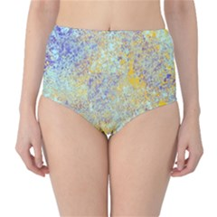 Abstract Earth Tones With Blue  High-Waist Bikini Bottoms