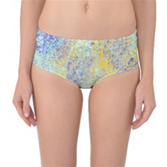 Abstract Earth Tones With Blue  Mid-Waist Bikini Bottoms