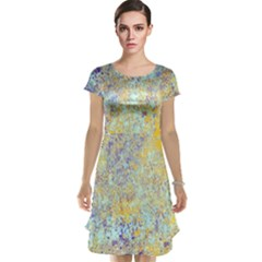 Abstract Earth Tones With Blue  Cap Sleeve Nightdresses