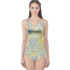 Abstract Earth Tones With Blue  Women s One Piece Swimsuits
