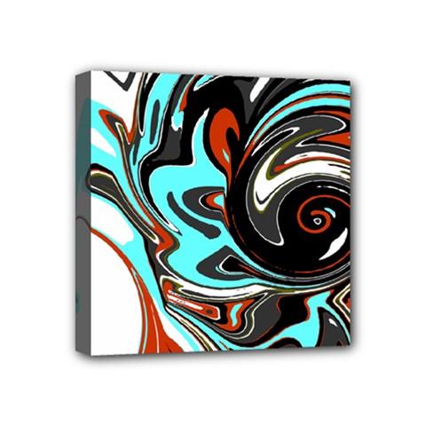 Abstract In Aqua, Orange, And Black Mini Canvas 4  X 4