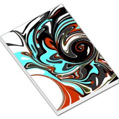 Abstract In Aqua, Orange, And Black Large Memo Pads