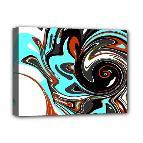 Abstract In Aqua, Orange, And Black Deluxe Canvas 16  X 12