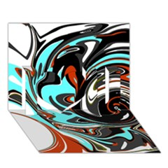 Abstract in Aqua, Orange, and Black I Love You 3D Greeting Card (7x5)