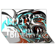 Abstract in Aqua, Orange, and Black Happy Birthday 3D Greeting Card (8x4)