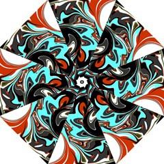 Abstract In Aqua, Orange, And Black Golf Umbrellas