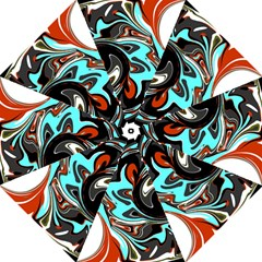 Abstract in Aqua, Orange, and Black Hook Handle Umbrellas (Large)